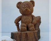 Simon - Teddy Bear Guardian wood carving, hand carved decoration for child's room, suitable gift for a young child with lots of fantasy