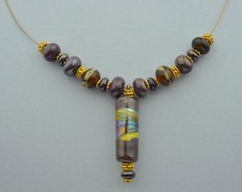 Handmade Lampwork Bead Necklace, Dark Silver Plum