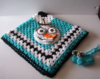 Hand Crocheted Olaf (Frozen) Granny Square Baby Blanket/ Afghan plus Knit booties