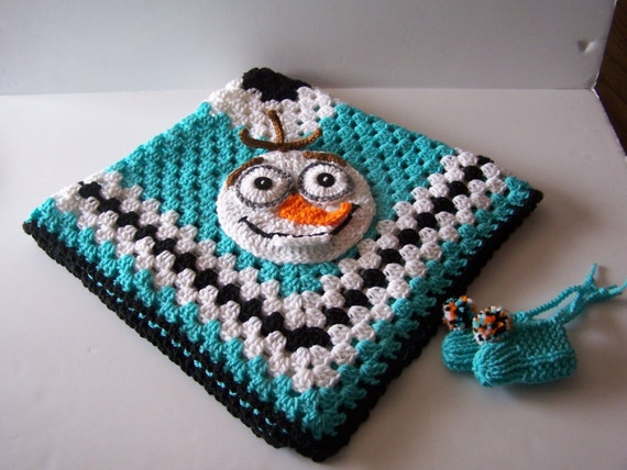 Hand Crocheted Olaf Frozen Granny Square Baby Blanket/