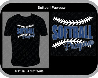 Softball Pawpaw with laces SVG Cutter Design INSTANT DOWNLOAD
