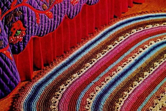 Crochet Pattern Oval Rug : Large Oval Crocheted Rug PDF Vintage Crochet by MomentsInTwine