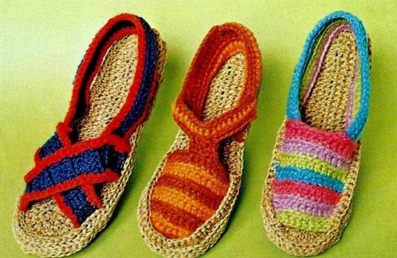 Make Your Own Espadrilles Shoe Vintage Crochet Pattern