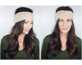 FABRIC WRAPS Beige Lace Turban - Buy 3 Get 1 FREE