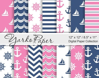 Navy Blue And Pink Nautical Digital Paper Pack, 12x12, 8.5x11, Chevron, Anchor, Stripes, Geometric, Marine, 14 Sheets - Instant Download