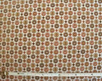Vintage 50s Rusty & Gold Classic Medallions Fabric