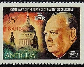 """Centenary Of The Birth Of Sir Winston Churchill """"His Finest Hour"""" -Handmade Framed Postage Stamp Art 12429"""