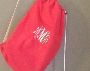 Monogram/Name Solid Color Cotton Laundry Bag with Shoulder Strap-Small Bag