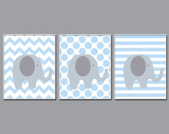 Elephant Nursery Wall Art Print,  Blue and Grey Elephant Baby Art Print and Nursery Wall Art Prints Baby Boy Room Decor N511,512,513