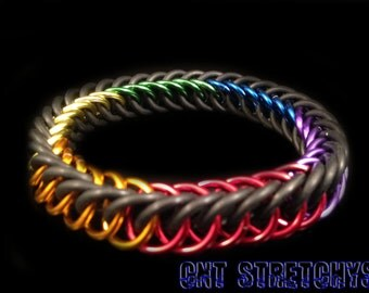 Chainmail Bracelet (HP Weave) Rainbow Stretchy