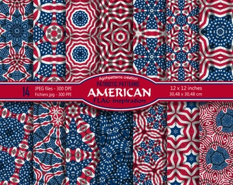14 american patterns flag inspiration patriotic 4th of july day celebration feast instant download files digital America