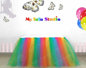 Rainbow Tulle Table TuTu Skirt for Wedding, Birthday, Kids Party, Quinceanera, Graduation TSM03005