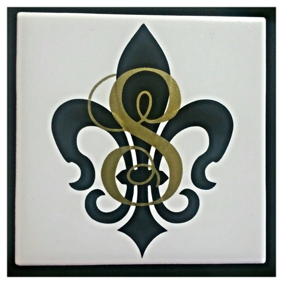 Set Of 4 Personalized Fleur De Lis With Initial Coaster Set