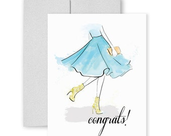 Twirling Congrats - Greeting Card, Fashion Illustration, Congratulations Card