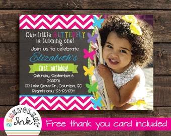 Butterfly Birthday Invitation - Printable Birthday Party Invite - First Birthday Girl - 1st Birthday Girl - Butterfly Theme Invitation