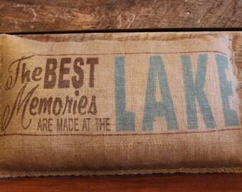 Lake Burlap Pillow