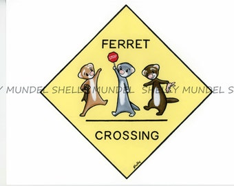 """Art by Shelly Mundel. Ferret People Collection """"Ferret Crossing"""""""