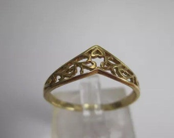 Vintage 9ct Yellow Gold Filigree Ring