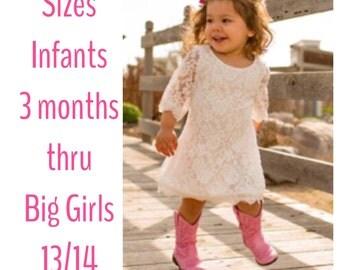 BEST SELLER! Little Girls Lace 3/4 sleeve Dress, Lace Dress, Girls Spring Dress, Easter Dress, Blush Pink or White