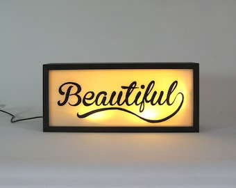 "Hand Painted Signs ""Beautiful"" Vintage Wooden Lightbox / Illuminated Sign / Home Cafe Decor / Light Box Sign / Hand Lettering Cursive Signs"