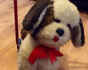 Vintage Retro Lefray Push Along Dog Walker - 1970s Lefray Stuffed Toy