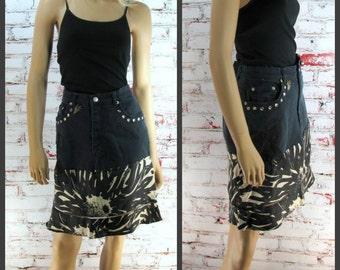 Black Skirt, Denim Jean skirt, Black denim skirt, black silk skirt Size 12 skirt,    # 82