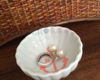 Monogrammed Anchor Ceramic Jewelry/Ring Dish