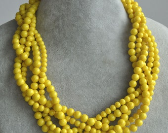 yellow pearl necklace,five strand Yellow Glass Pearl Necklace,twist yellow bead Necklace,Wedding Necklace jewelry,bridesmaid necklace