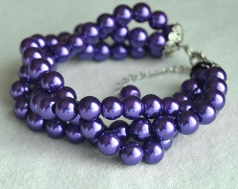purple pearl Bracelet, Glass Pearl Bracelet,Triple purple Pearl Bracelet,Wedding Bracelet,Bridesmaid Bracelet,Jewelry,Maid of honor jewelry