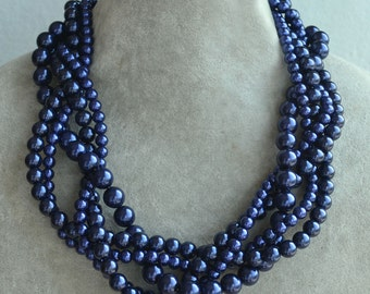 navy blue Pearl Necklace,five Strands Necklace,Wedding Necklace,navy pearl necklace.Pearl Jewelry,Bridesmaid Jewelry,cheap pearl necklace