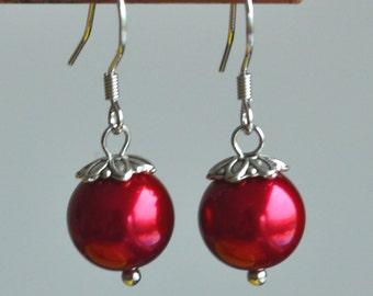 burgundy Pearl earrings,burgundy glass bead earrings,8mm or 10mm burgundy bead earring,burgundy dangling earrings,bridesmaid earrings
