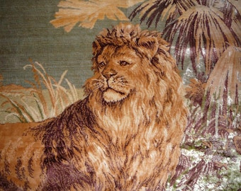 WW1 era European tapestry/rug with lion family