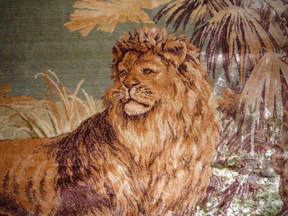 WW1 Ära Europäische WandteppichTeppich mit Löwenfamilie