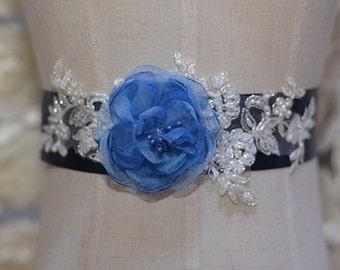 rhinestone beaded bridal sash, crystal bridal sash,jewelry blue wedding sash, bridal belt, wedding belt, CHLOE rhinestone beaded bridal sash