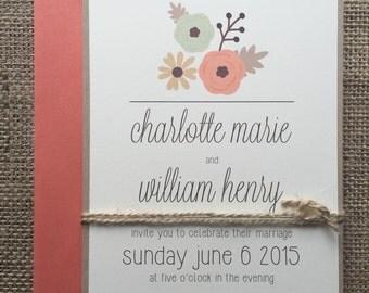 Rustic Modern Floral Wedding Invitation, Simple & Elegant