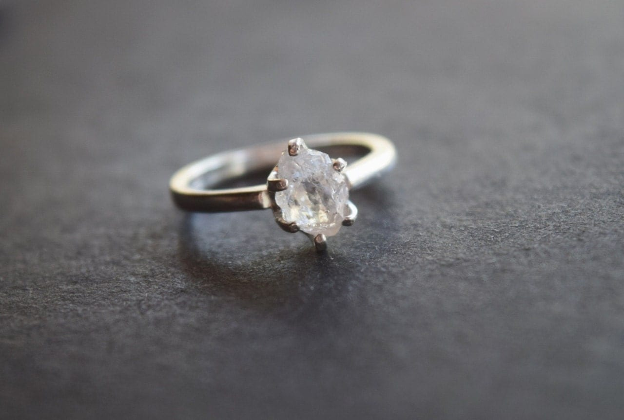 Raw Diamond Engagement Ring Rough Diamond Wedding Band