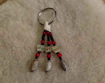 Native American Abalone Shell, Red and Black Keychain