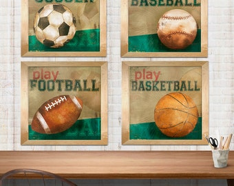 SET OF 3 sports Boy Wall Art , soccer, baseball and football art prints