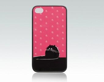 Funny cat iPhone 4 case, iPhone 4s cover, black cat iPhone 4 case, spiral, cool, fat cat, raspberry color, cute