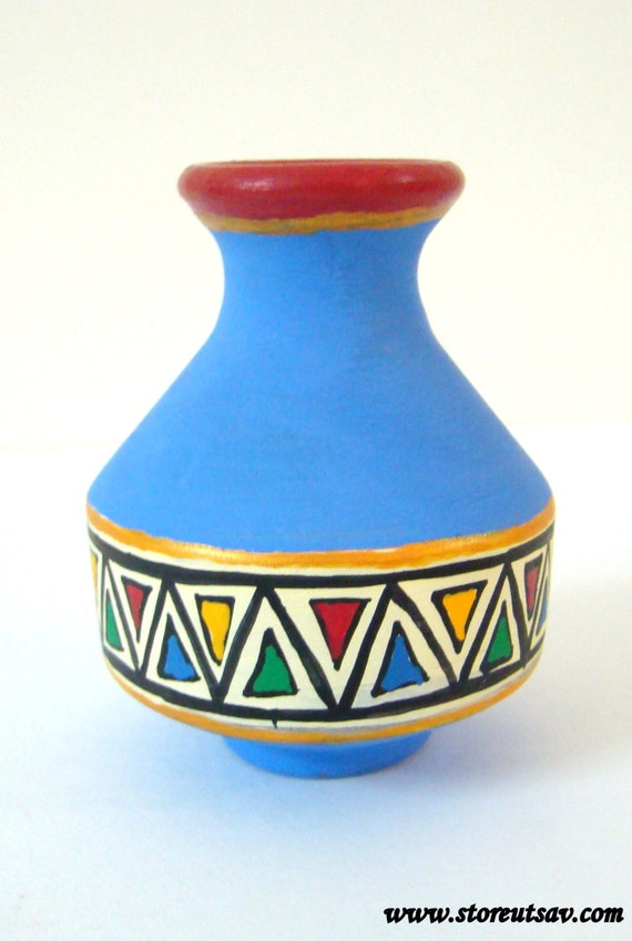 Vase Pottery Terracotta Home Decor Indian Handicraft Blue