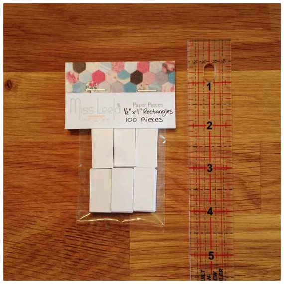 "100 Half Inch x One Inch (1/2"" x 1"") Rectangle Papers – English Paper Piecing - Patchwork Quilting"