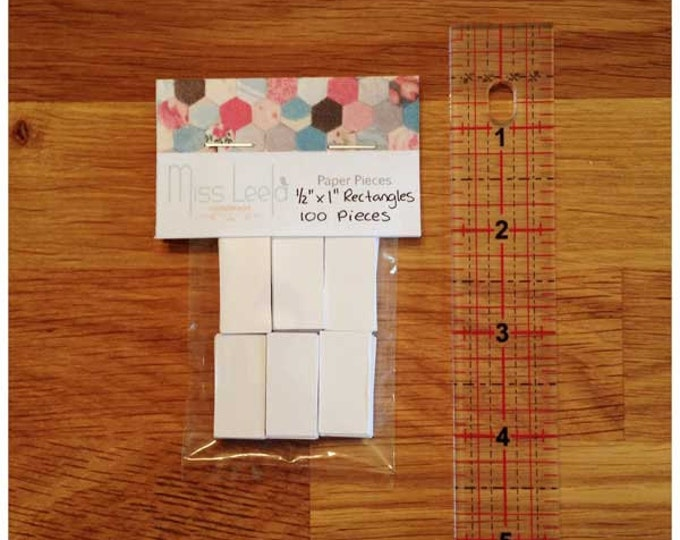 """100 Half Inch x One Inch (1/2"""" x 1"""") Rectangle Papers – English Paper Piecing"""