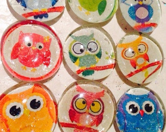 "Cute owl glass magnets. Set of 7 colorful owl magnets, approximately 1"" round"