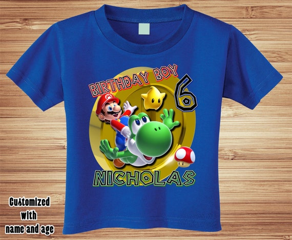 Super Mario Brothers Birthday T Shirt Personalized - nintendo wii video game