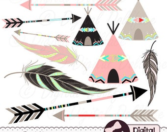 Tribal Arrow Clip Art, Digital Feather, Teepee Clipart, Aztec, Native American