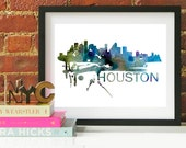 Houston Art, Houston Skyline, Houston map, Houston skyline, Houston map print