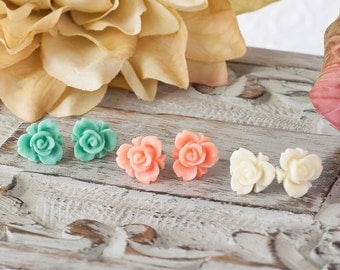 Rose Earrings Iris Rose Post Earrings Flower Earrings Mint Green Earrings Coral Peach Earrings Ivory Earrings Three Pair Bridesmaid Gift