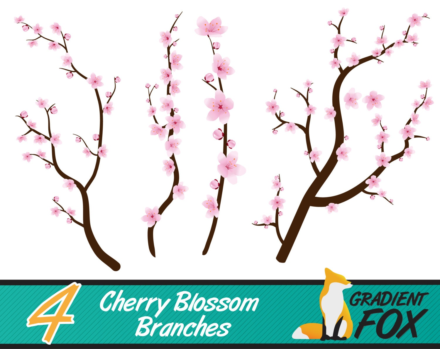 Cherry Blossom Branch Embellishments Clipart Pack PNG files