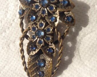 Czech cobalt blue glass crystal dress clip