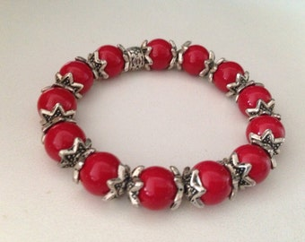 Red ladies bracelet with silver tone findings, Valentines day